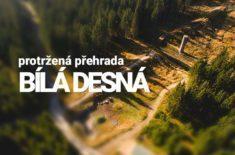 protržená přehrada bílá desná dronem